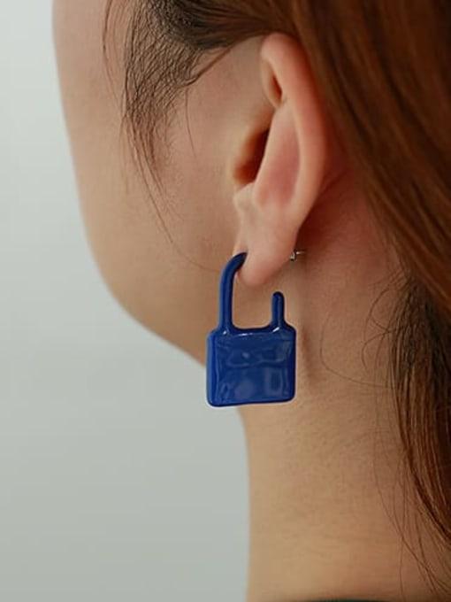 Blue single Zinc Alloy Enamel Locket Minimalist Single Earring