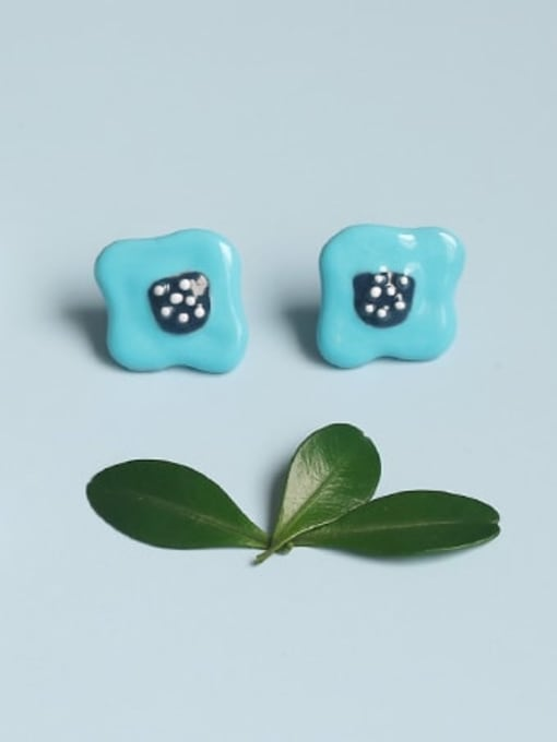 Blue Earrings Alloy Enamel Cloud Minimalist Stud Earring
