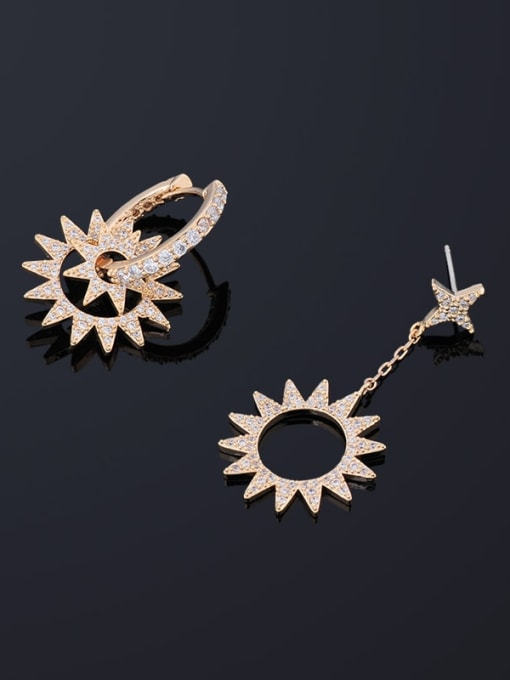 OUOU Brass Cubic Zirconia Asymmetry Geometric Ethnic Drop Earring 2