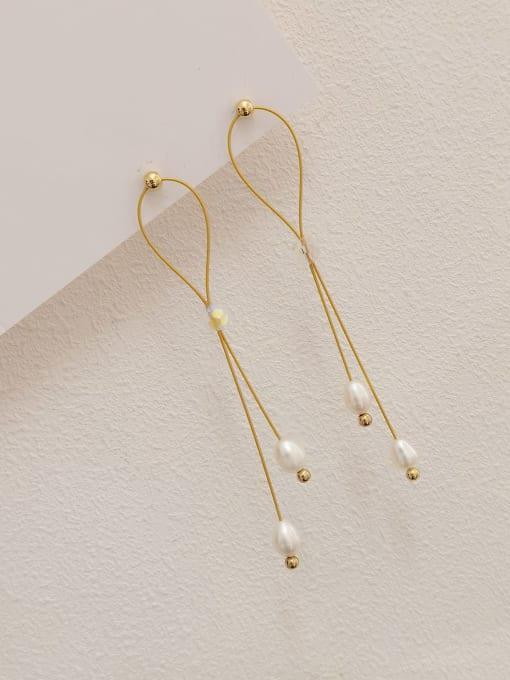 14k Gold Brass Imitation Pearl Geometric Minimalist Drop Earring