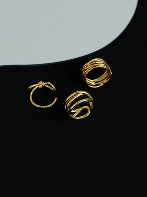 Five Color Brass Geometric Minimalist Stackable Ring 3