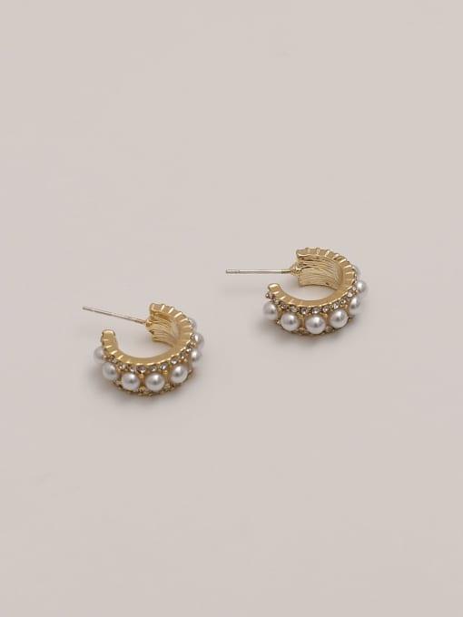 14k Gold Brass Imitation Pearl Geometric Vintage Stud Earring