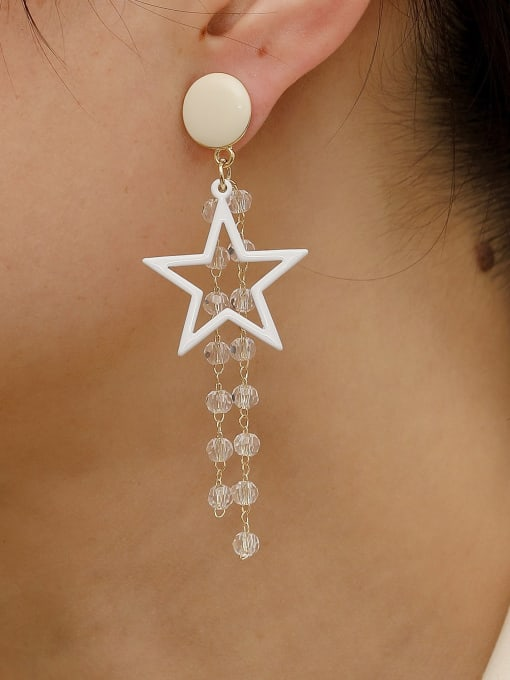 HYACINTH Brass Enamel Five Pointed Star Crystal Tassel Earrings 2