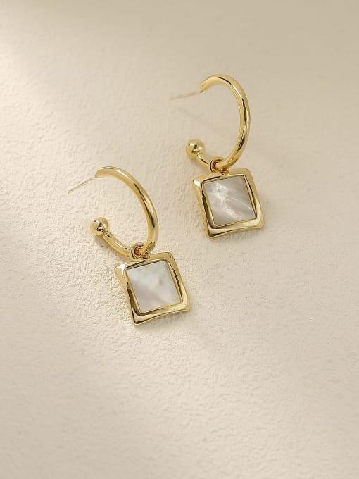 14k Gold Brass Shell Geometric Vintage Hook Earring
