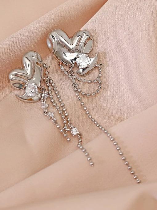 White K Brass Cubic Zirconia Tassel Minimalist Drop Earring