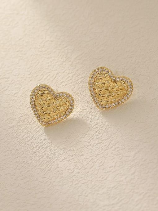 14k Gold Brass Cubic Zirconia Heart Minimalist Stud Trend Korean Fashion Earring