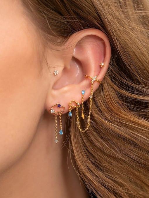 COLSW Brass Cubic Zirconia Irregular Minimalist Single Earring 1