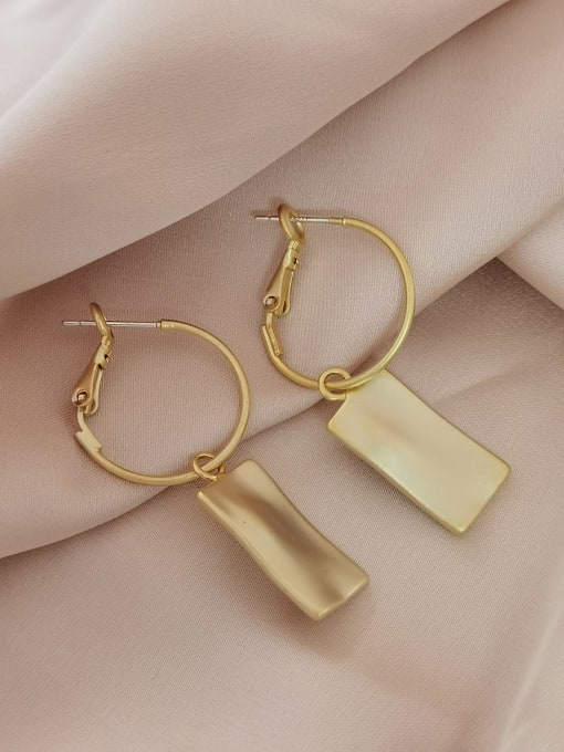 HYACINTH Brass Cats Eye Geometric Minimalist Huggie Earring 3
