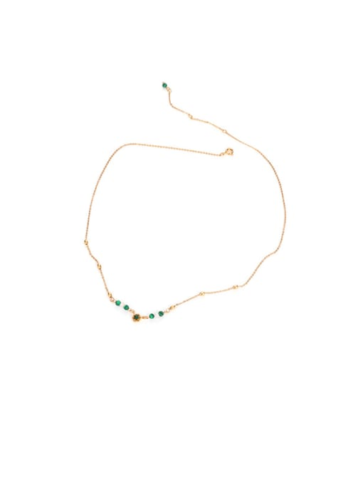 Natural stone necklace Brass Imitation Pearl Geometric Vintage Lariat Necklace
