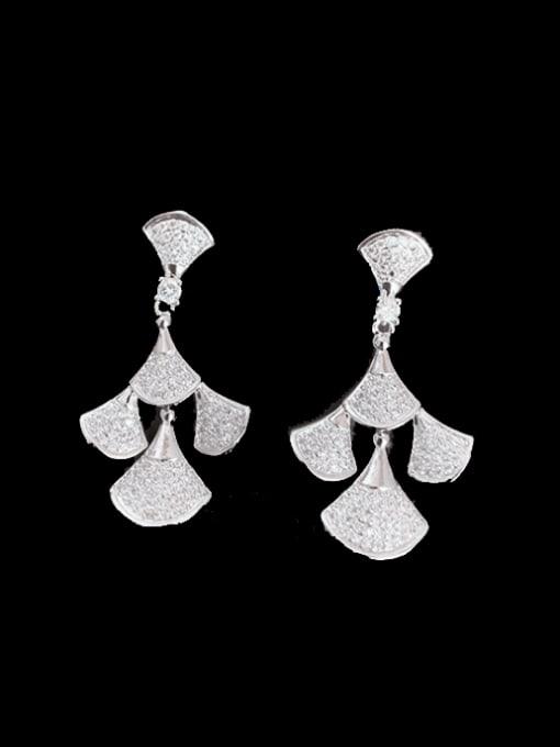 SUUTO Brass Cubic Zirconia Irregular Luxury Drop Earring