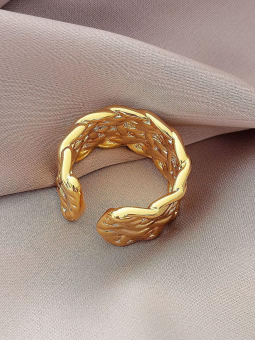 HYACINTH Brass Irregular Geometric Vintage Band Ring 3