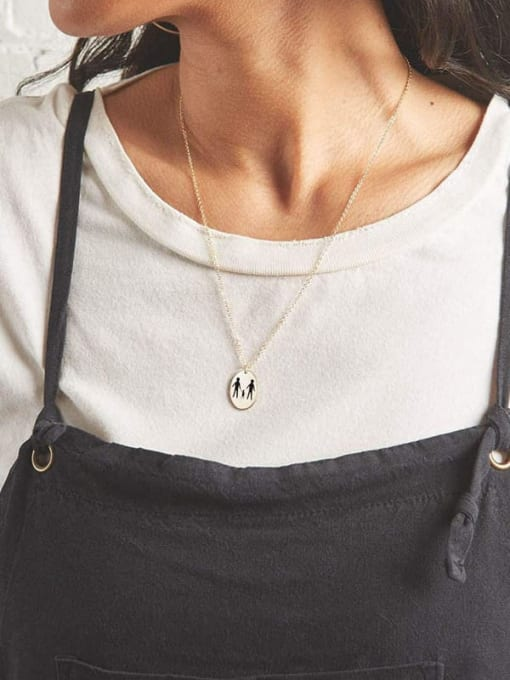 Desoto Stainless steel Laser  Geometric Minimalist  Pendant  Necklace 2