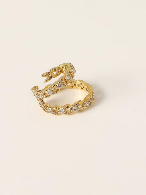 14k gold Brass Cubic Zirconia Geometric Minimalist Clip Trend Korean Fashion Earring
