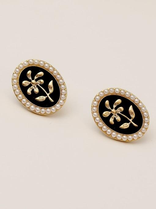 Dumb gold Brass Enamel Geometric Vintage Stud Earring