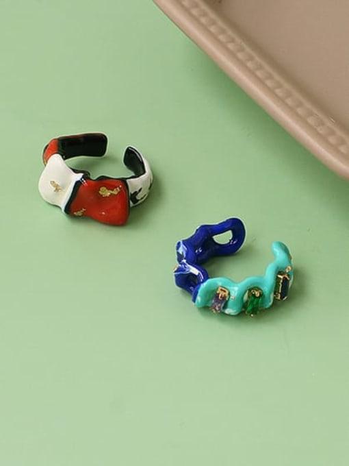 Five Color Zinc Alloy Enamel Irregular Minimalist Band Ring 1