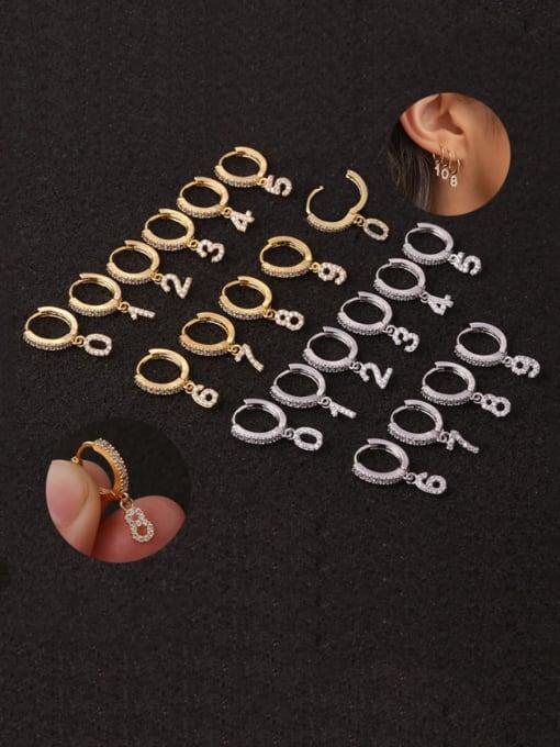 HISON Brass Cubic Zirconia Number Hip Hop Huggie Earring 0