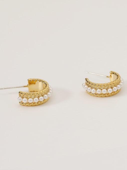 14k Gold Alloy Imitation Pearl Geometric Minimalist Stud Earring