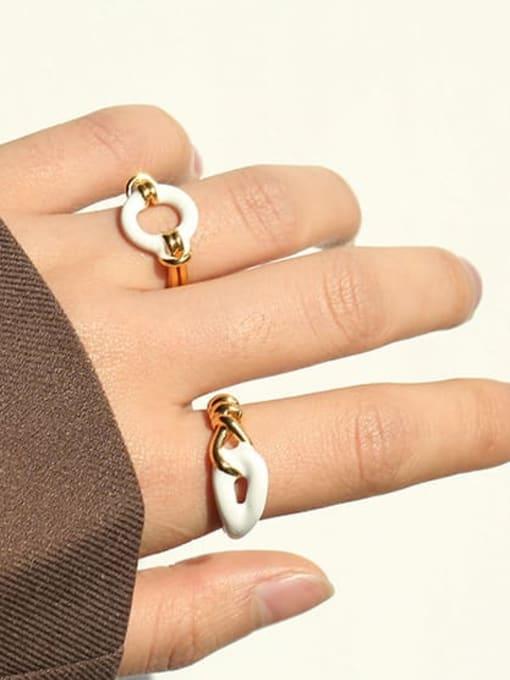 ACCA Brass Enamel Geometric Vintage Band Ring 0