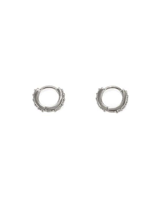 ACCA Brass Cubic Zirconia Round Minimalist Huggie Earring 3