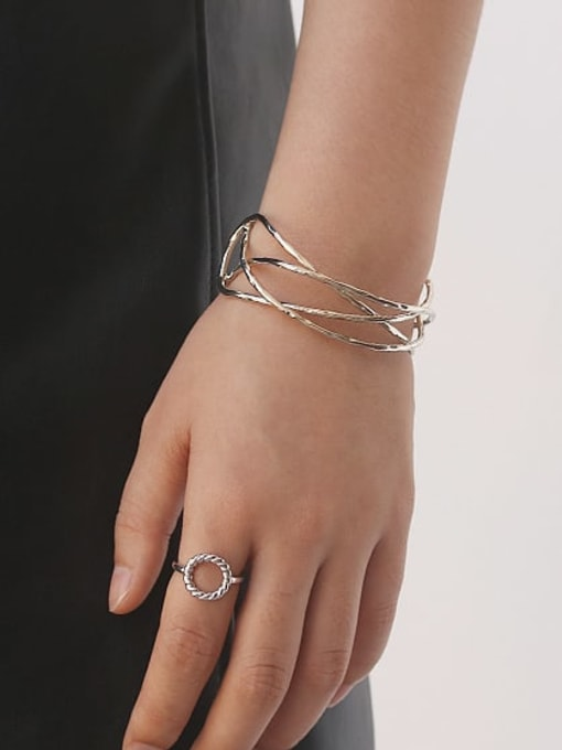 ACCA Brass  Vintage Geometric chain vintage twist  Cuff Bangle 2