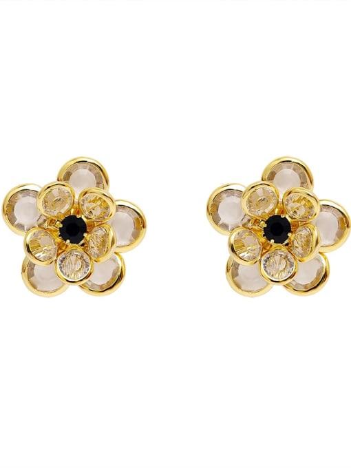 HYACINTH Brass Cubic Zirconia Flower Vintage Stud Earring