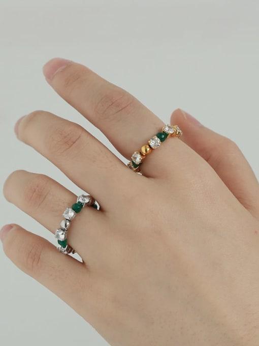 TINGS Brass Cubic Zirconia Geometric Vintage Bead Ring 2