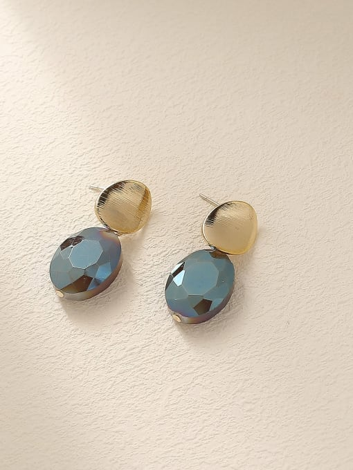 14k Gold+ Blue Purple Brass Glass Stone Geometric Vintage Drop Earring