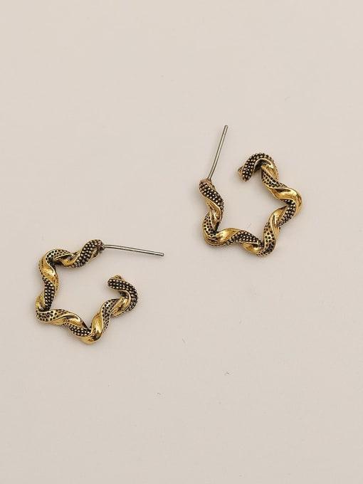 Gujin Brass Geometric Vintage Hoop Earring