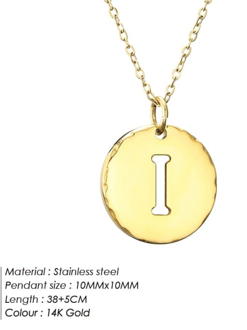 I Titanium Steel Letter Minimalist Round Pendant Necklace