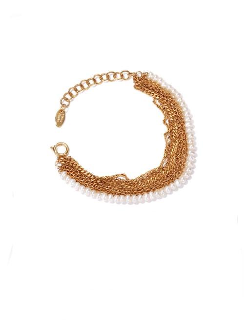 golden Brass Imitation Pearl Geometric Vintage Strand Bracelet
