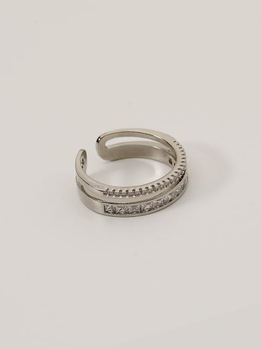 White K Brass Cubic Zirconia Geometric Minimalist Band Ring