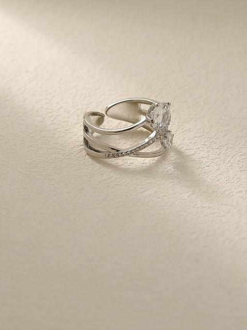 HYACINTH Brass Rhinestone Cross Minimalist Stackable Ring 3