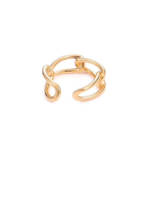 Chain ring Brass Hollow Geometric Minimalist Stackable Ring