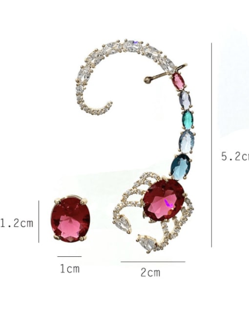 SUUTO Brass Cubic Zirconia Irregular Vintage Cluster Earring 1