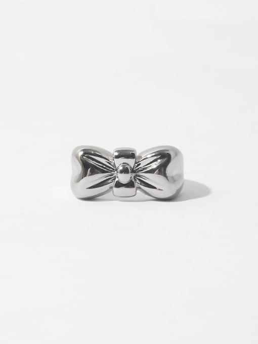 Platinum Brass Bowknot Hip Hop Band Ring