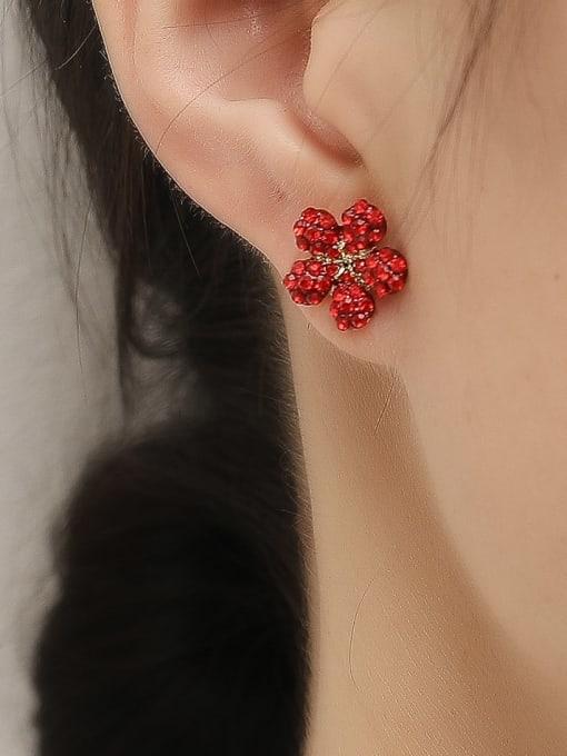HYACINTH Brass Rhinestone Flower Minimalist Stud Trend Korean Fashion Earring 1