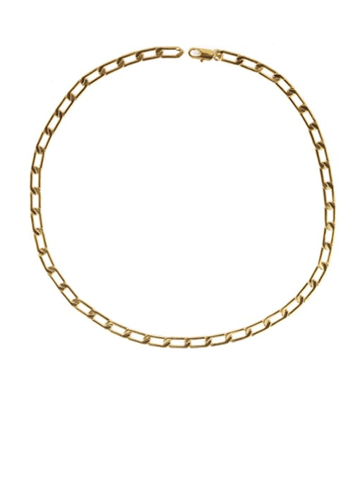 golden Brass Hollow Geometric  Chain Minimalist Necklace