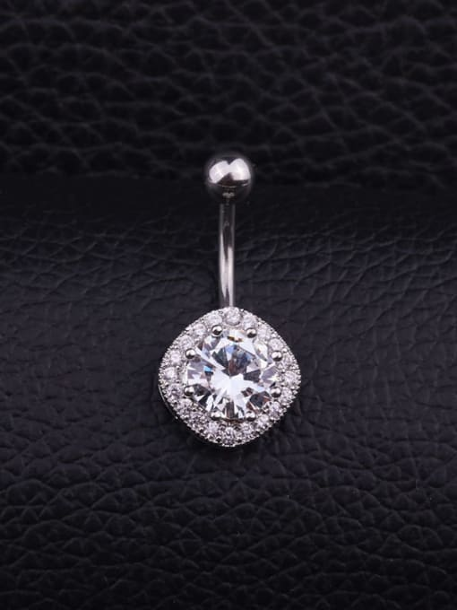 H Single Stainless steel Cubic Zirconia Flower Hip Hop Belly Rings & Belly Bars