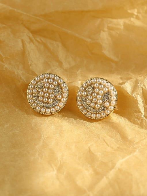 14k Gold Brass Imitation Pearl Geometric Bohemia Stud Earring