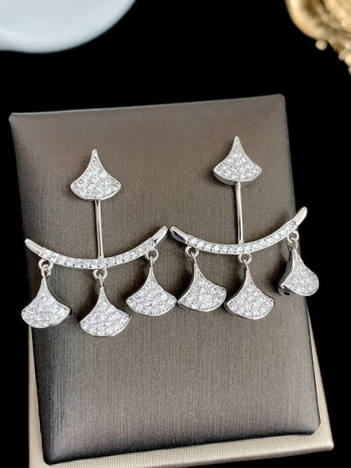 SUUTO Brass Cubic Zirconia Geometric Trend Stud Earring 1