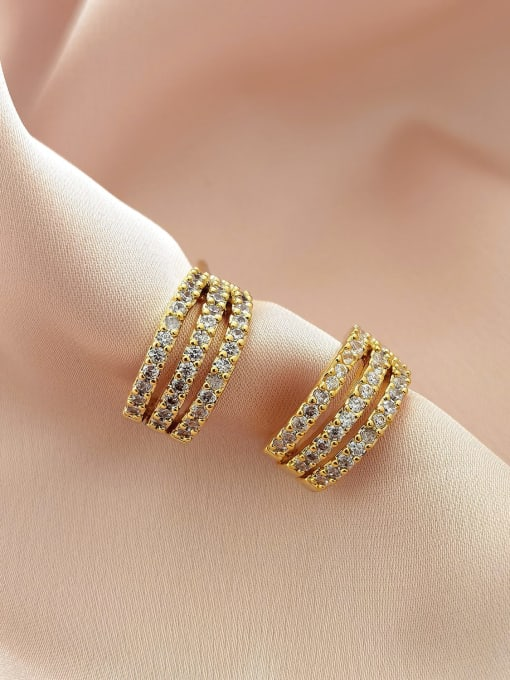 HYACINTH Brass Cubic Zirconia Geometric Minimalist Stud Earring