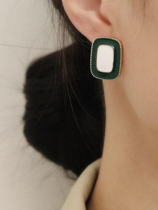 HYACINTH Brass Enamel Geometric Vintage Stud Earring 1