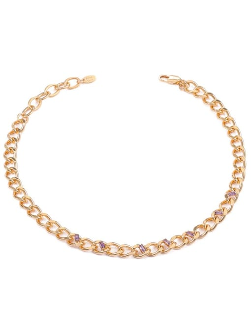 ACCA Brass Hollow Geometric Chain Hip Hop Necklace 0