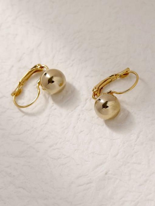 14k Gold Brass Ball Vintage Hook Trend Korean Fashion Earring