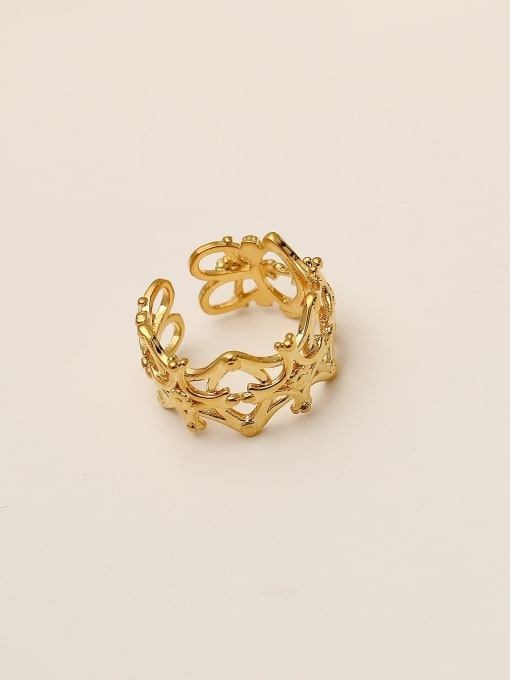 HYACINTH Brass Hollow  Flower Minimalist Band Ring 0