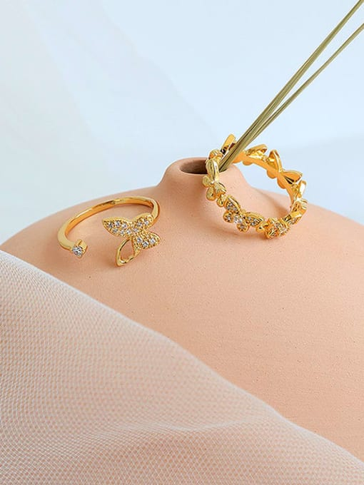 Five Color Brass Cubic Zirconia Butterfly Minimalist Band Ring 1