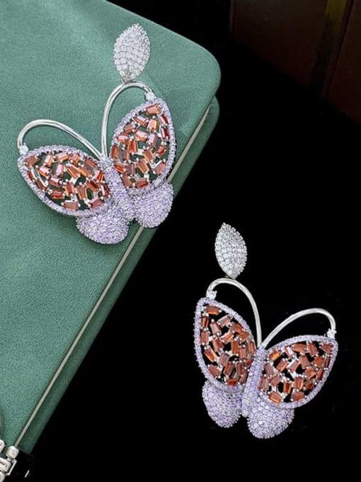 SUUTO Brass Cubic Zirconia Butterfly Vintage Stud Earring 1