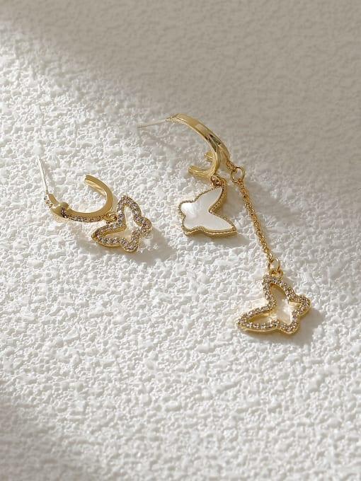 HYACINTH Brass Shell Butterfly Minimalist Drop Earring