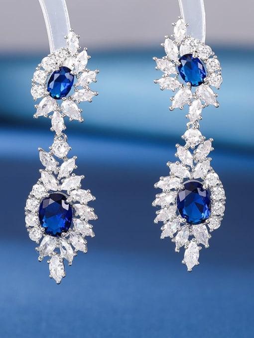 Spinel blue Brass Cubic Zirconia Flower Luxury Drop Earring