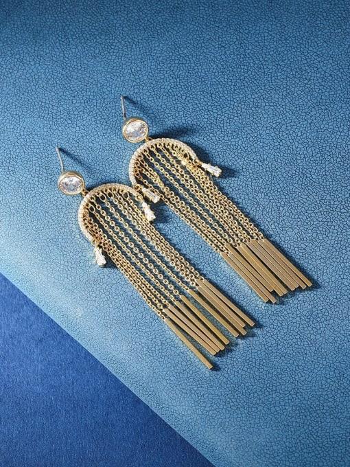 OUOU Brass Cubic Zirconia Tassel Ethnic Threader Earring 0